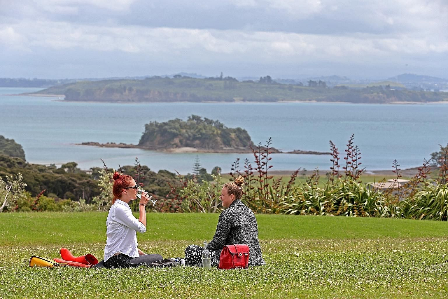 Waiheke Island (top) is a popular weekend getaway spot; and a metal basket filled with raw meats and vegetables (above) for the hangi, a Maori dining experience.