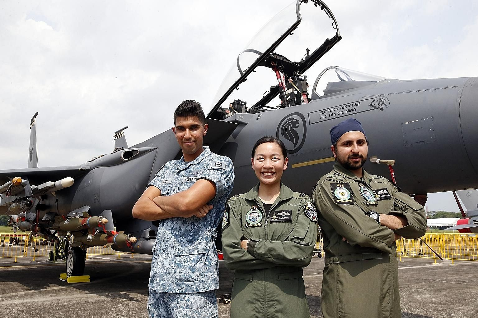 The RSAF personnel involved in the aerial display are (from left) Third Sergeant Singh, and fighter pilots Capt Nah and Captain Ravinpal Singh. The RSAF Open House is open to the public this weekend and admission is free.