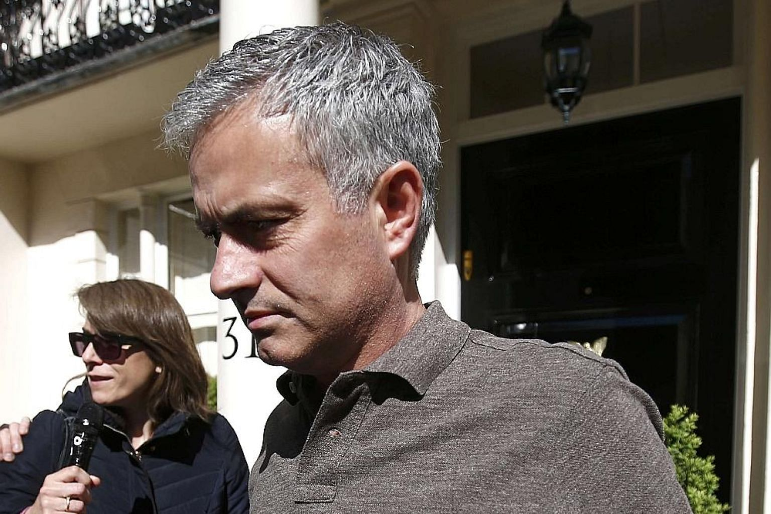Former Chelsea manager Jose Mourinho, leaving his home in London yesterday, is expected to take charge at Manchester United later in the week on a three-year deal worth more than his £7.5 million annual package with the Blues. Louis van Gaal was sac