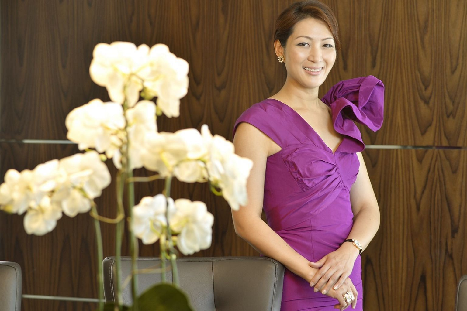 Mrs Nana Au-Chua, COO of lighting company Million Lighting, has over 30 Oscar de la Renta gowns and cocktail dresses.