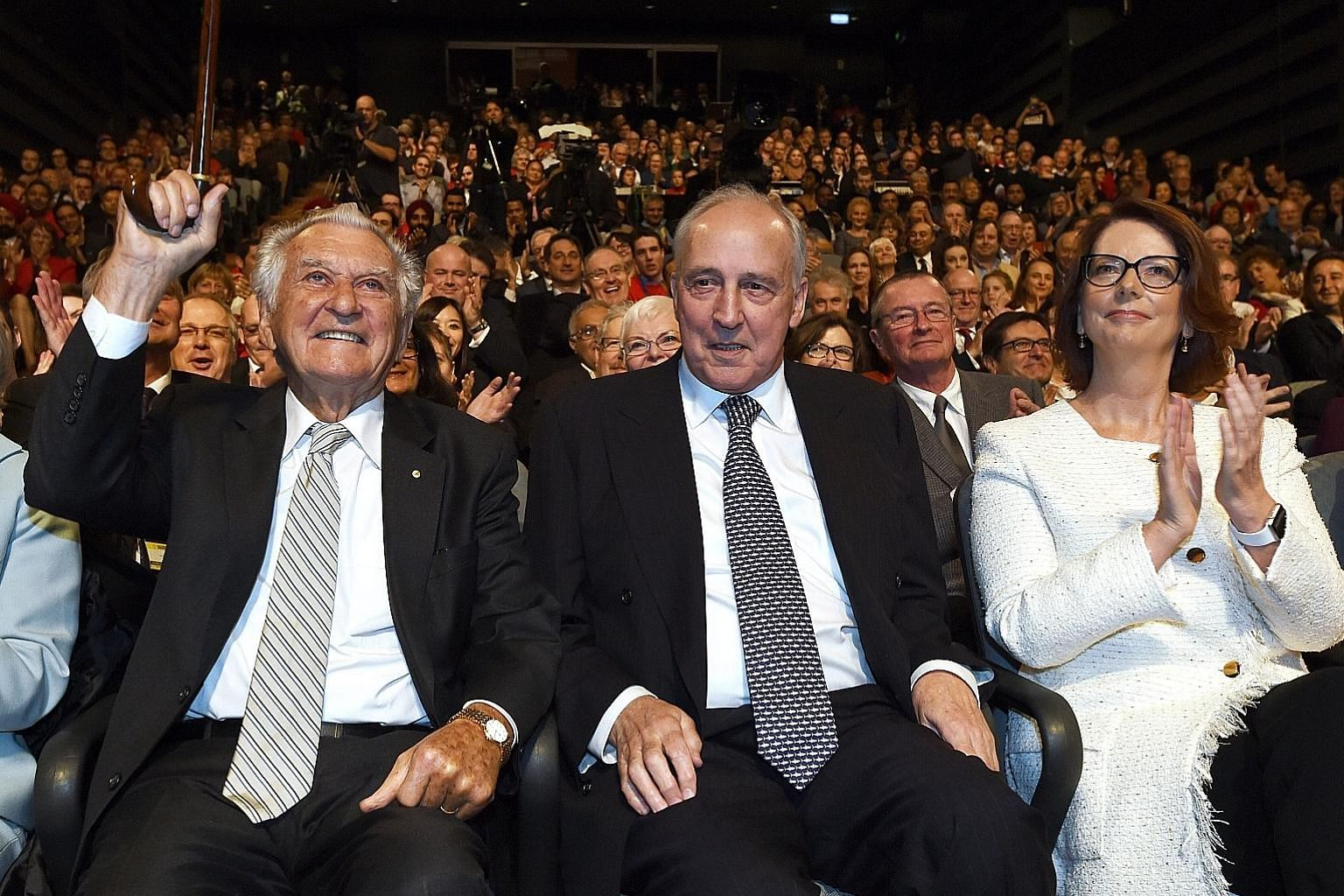 Former Australian prime ministers (from left) Bob Hawke, Paul Keating and Julia Gillard listening to Labor Party leader Bill Shorten during the party's campaign launch in Penrith, Sydney, yesterday.