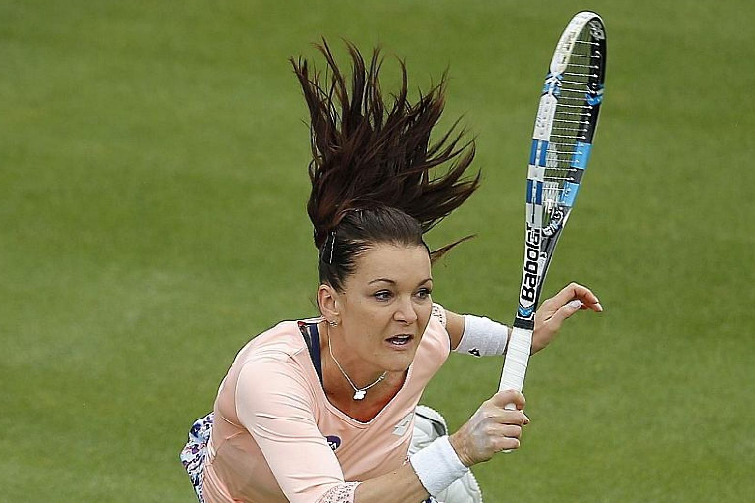Agnieszka Radwanska on grass in Birmingham last week, where the top seed was shocked in the first round. She is enjoying a much better run this week in Eastbourne, where she has reached today's semi-finals.
