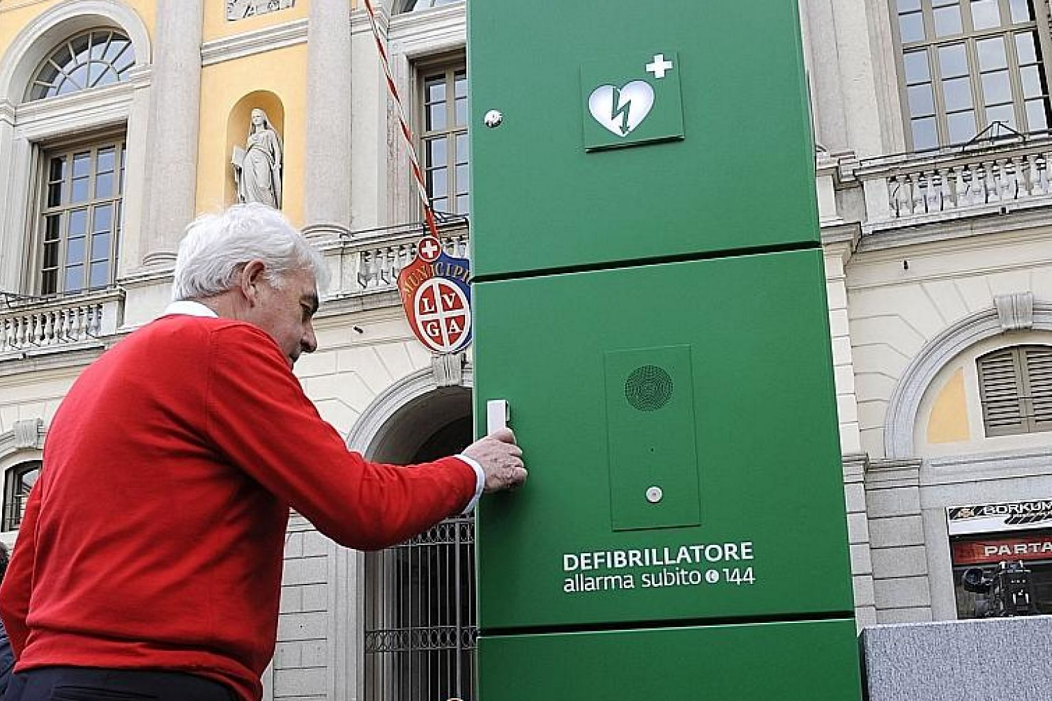 A defibrillator in Lugano, the Italian-speaking canton of Ticino in Switzerland. More than 1,000 defibrillators are available to the public as part of a scheme aimed at helping people who have heart attacks.