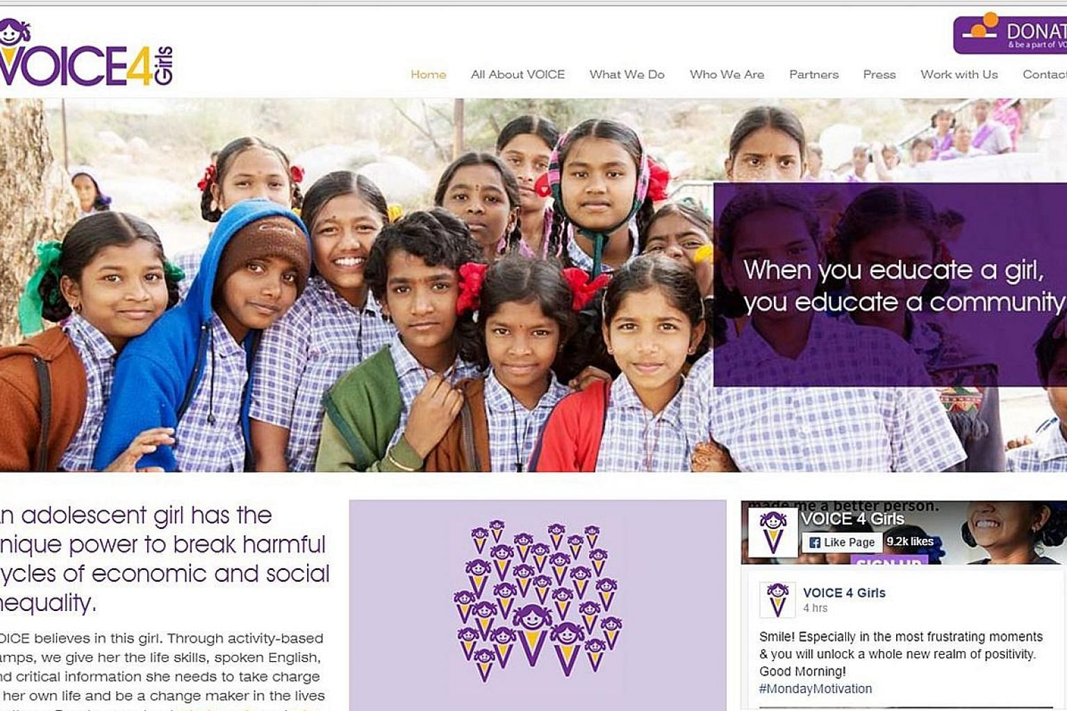 A screenshot from the Voice4Girls.Org website. VOICE 4 Girls is a social enterprise based in Hyderabad. It organises camps to teach girls about health, menstruation, puberty, legal rights, gender, future planning, financial literacy, sexual health, v