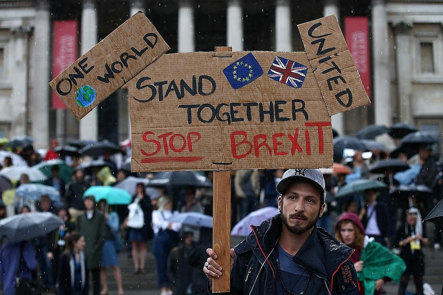 """Protesting against the results of the Brexit referendum at a demonstration in London. With strong opposition to the pro-Brexit vote, the words """"constitutional crisis"""" loom over the potential problems Britain may now face, even though the country does"""