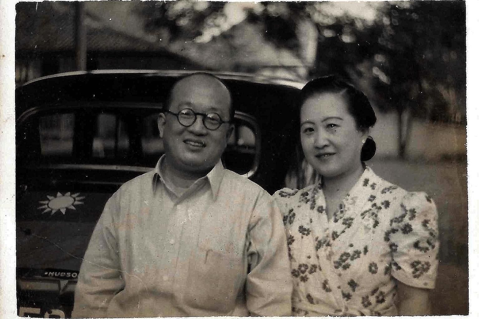 Mr New Shu Chun and his wife Hsi Cheng Hoa, Vivian Tsang's grandparents, in Jakarta, with an official Kuomintang vehicle behind them. He served as China's Vice-Consul in Yogyakarta from 1947 to 1949.