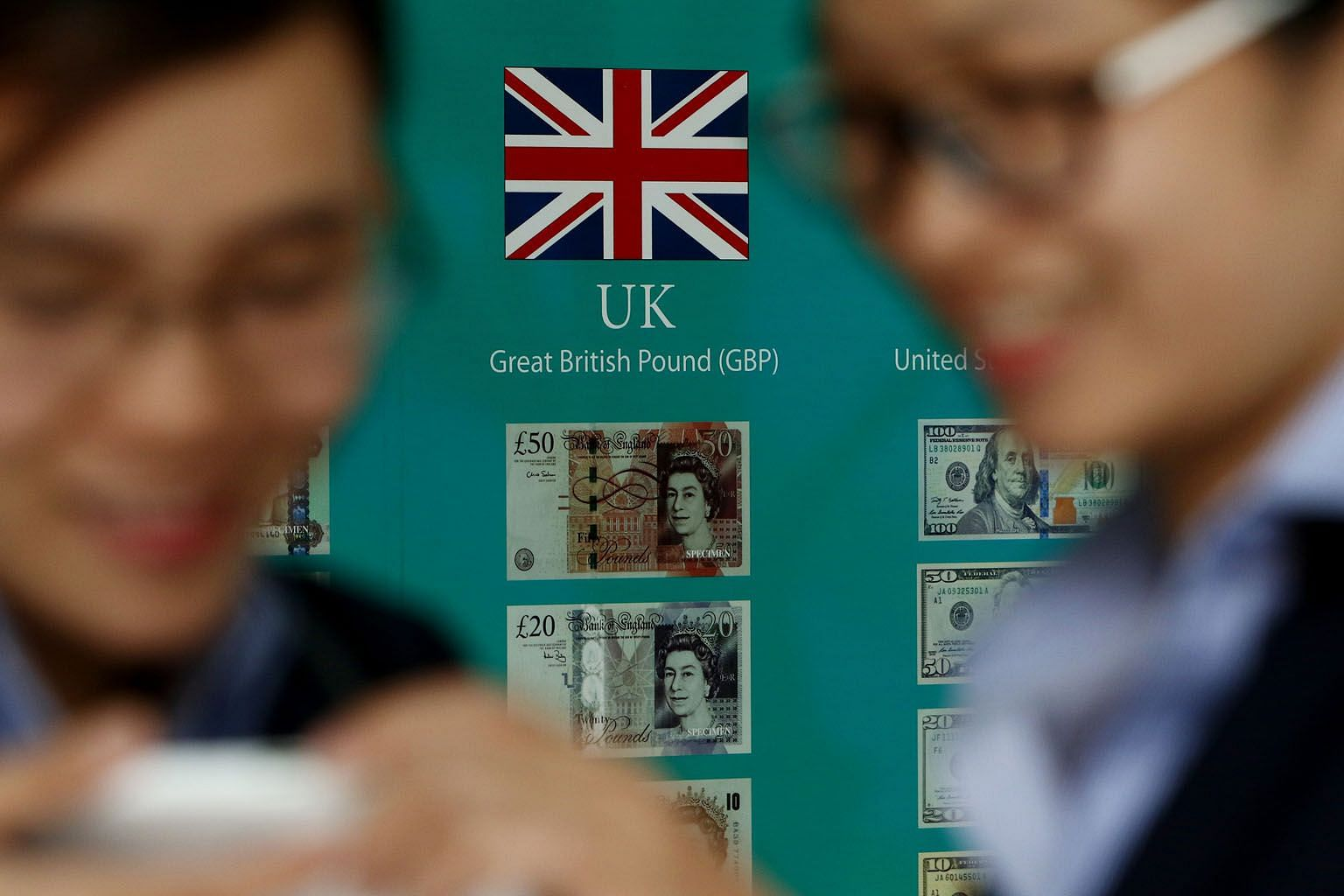 The Union Jack and British pound banknotes on display outside a bank in the South Korean capital Seoul. South Korea last week unveiled an US$8.5 billion (S$11.4 billion) economic support package to weather the Brexit shock, giving the central bank room to