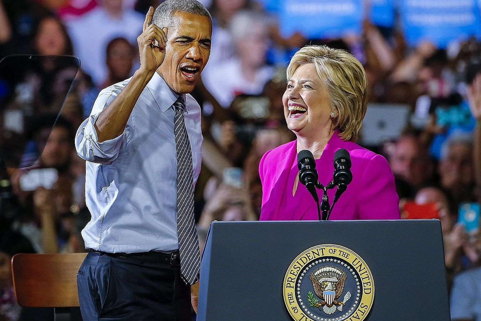 President Obama making a forceful plea to voters at Mrs Clinton's rally in Charlotte, North Carolina, on Tuesday - the first time the two of them had appeared together during her campaign for the presidency.