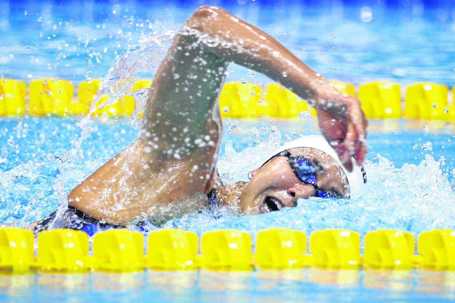 Quah Ting Wen setting a new national record of 55.52sec in the 100m freestyle in March's National Age Group Championships. Training overseas for most of the past eight months has paid off with her gaining an Olympic spot.