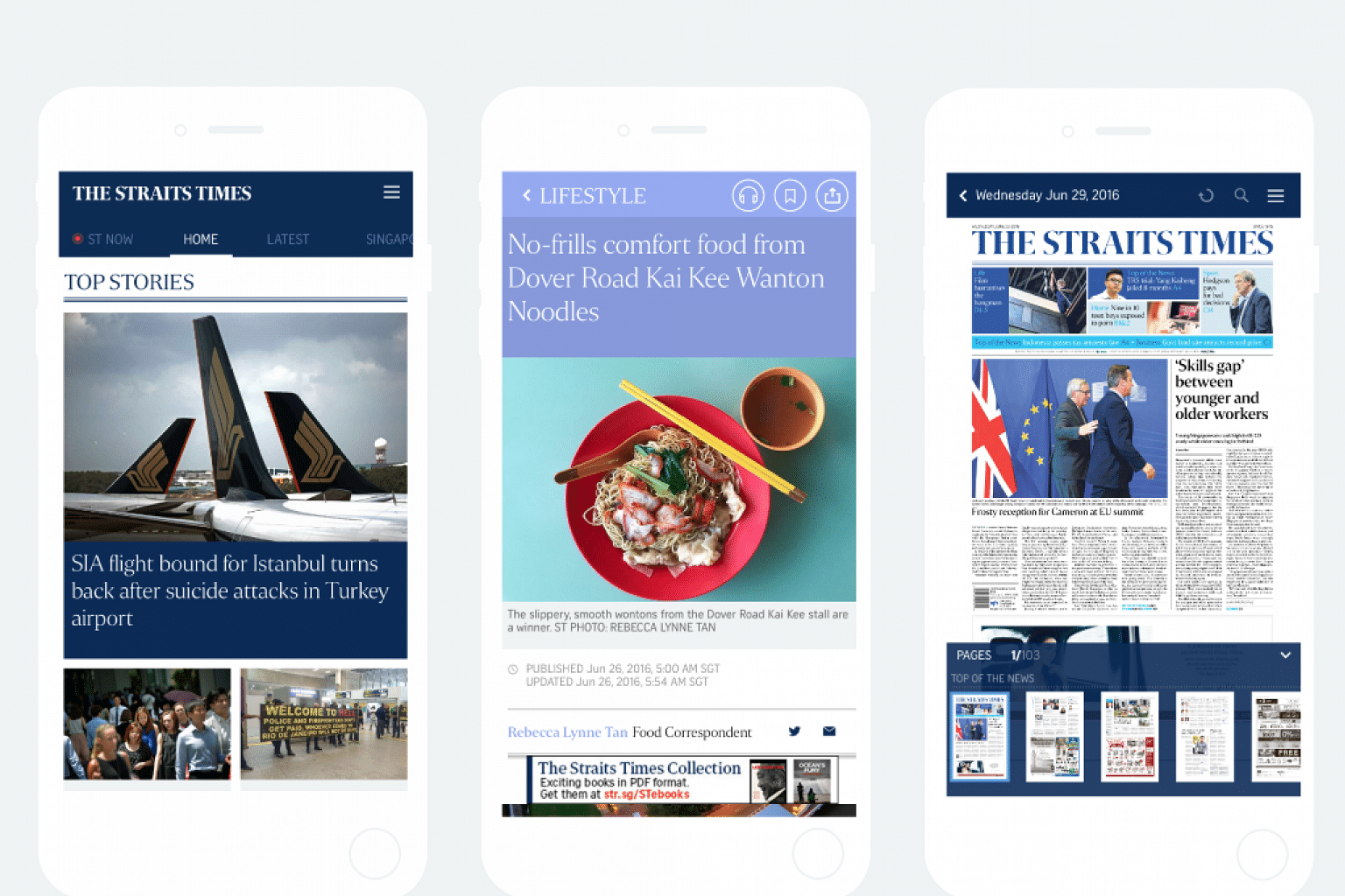 A composite photo of the new The Straits Times app.