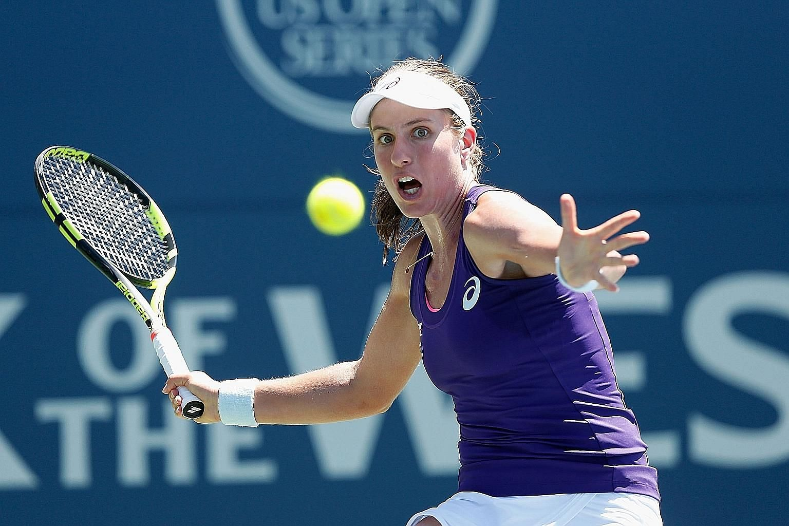 Britain's Johanna Konta, the world No. 18, hitting a forehand during her 7-5, 5-7, 6-2 victory against Venus Williams in the final of the WTA hardcourt tournament in Stanford, California on Sunday.