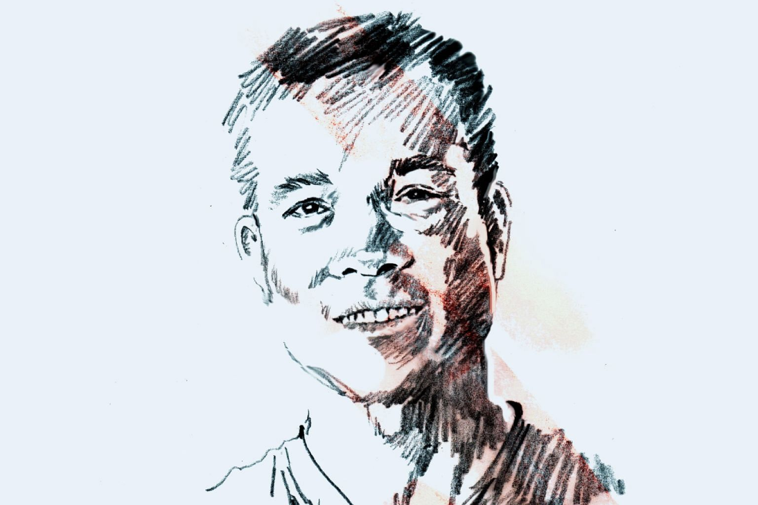 A portrait illustration of Vietnamese shooter Hoang Xuan Vinh.