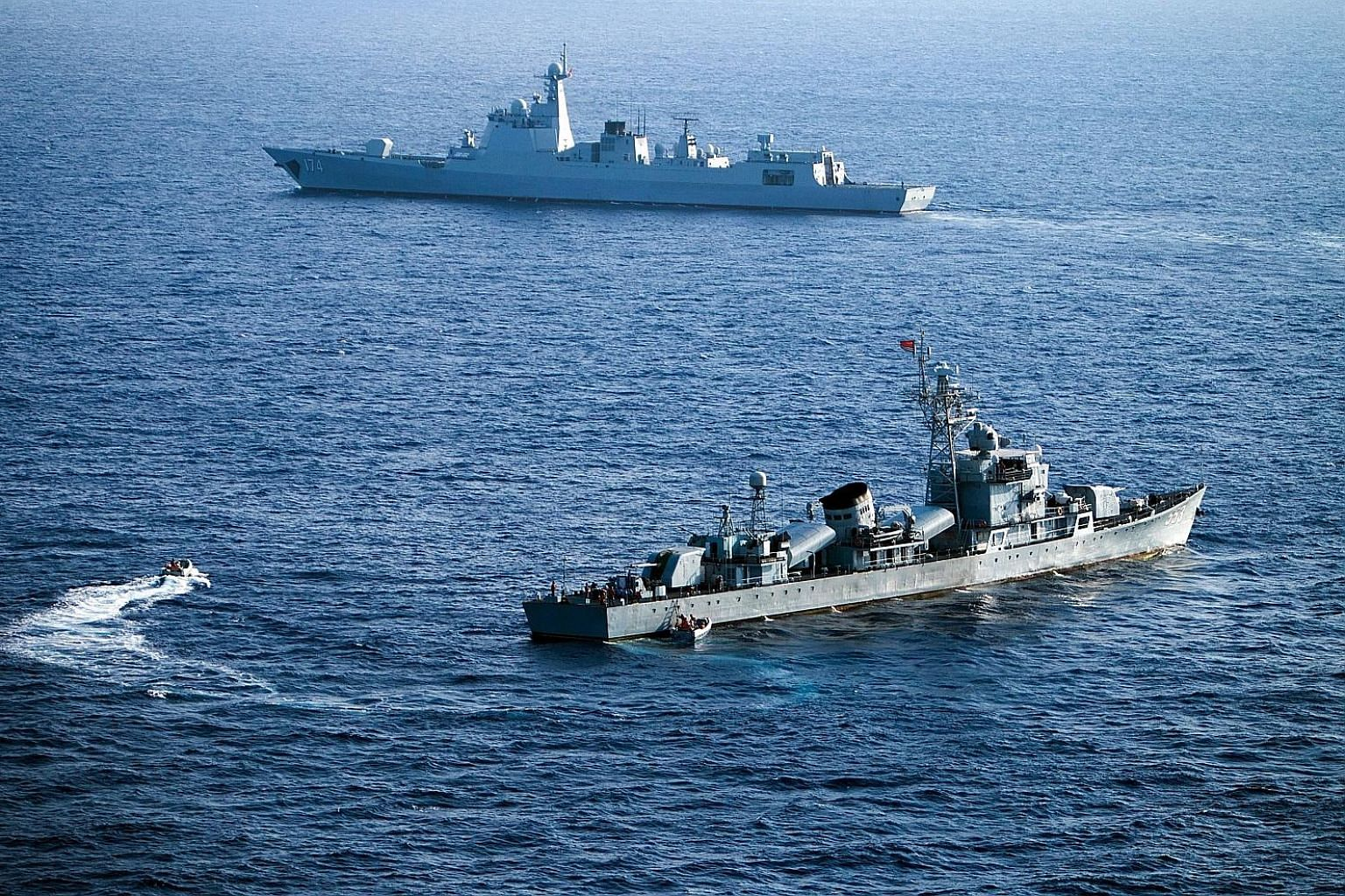 Ships from China's South Sea Fleet taking part in a drill near the Paracel Islands in the South China Sea in May. Both China and the US have been conducting exercises in the South China Sea, but South-east Asian states have not taken part, as most do