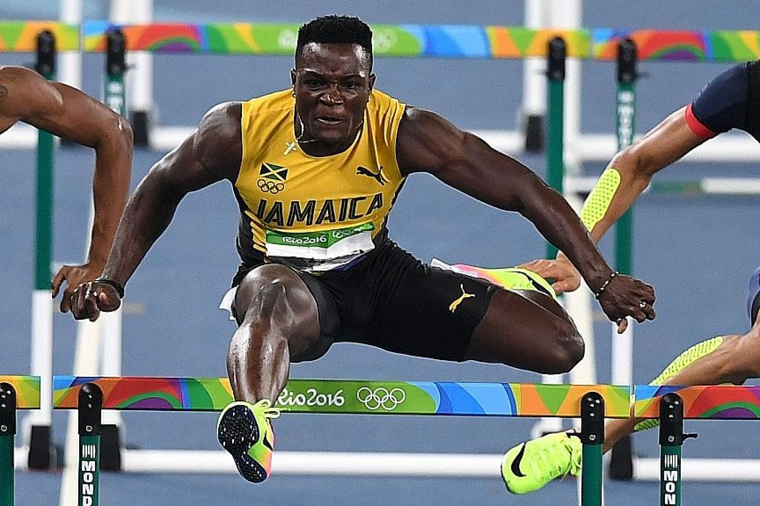 Jamaica's Omar McLeod on his way to winning gold in the men's 110m hurdles on Tuesday. The 22-year-old came into the race as a strong favourite and produced a stirring performance to win in a time of 13.05 seconds.