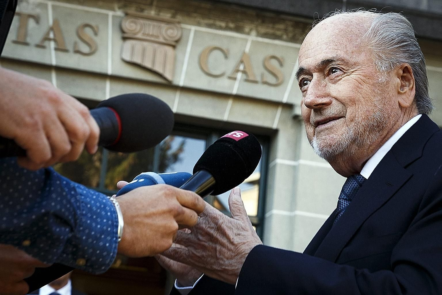 Former Fifa president Sepp Blatter arrives at the Court of Arbitration for Sport in Lausanne yesterday for the hearing of his appeal against a six-year ban from football for ethics violations.