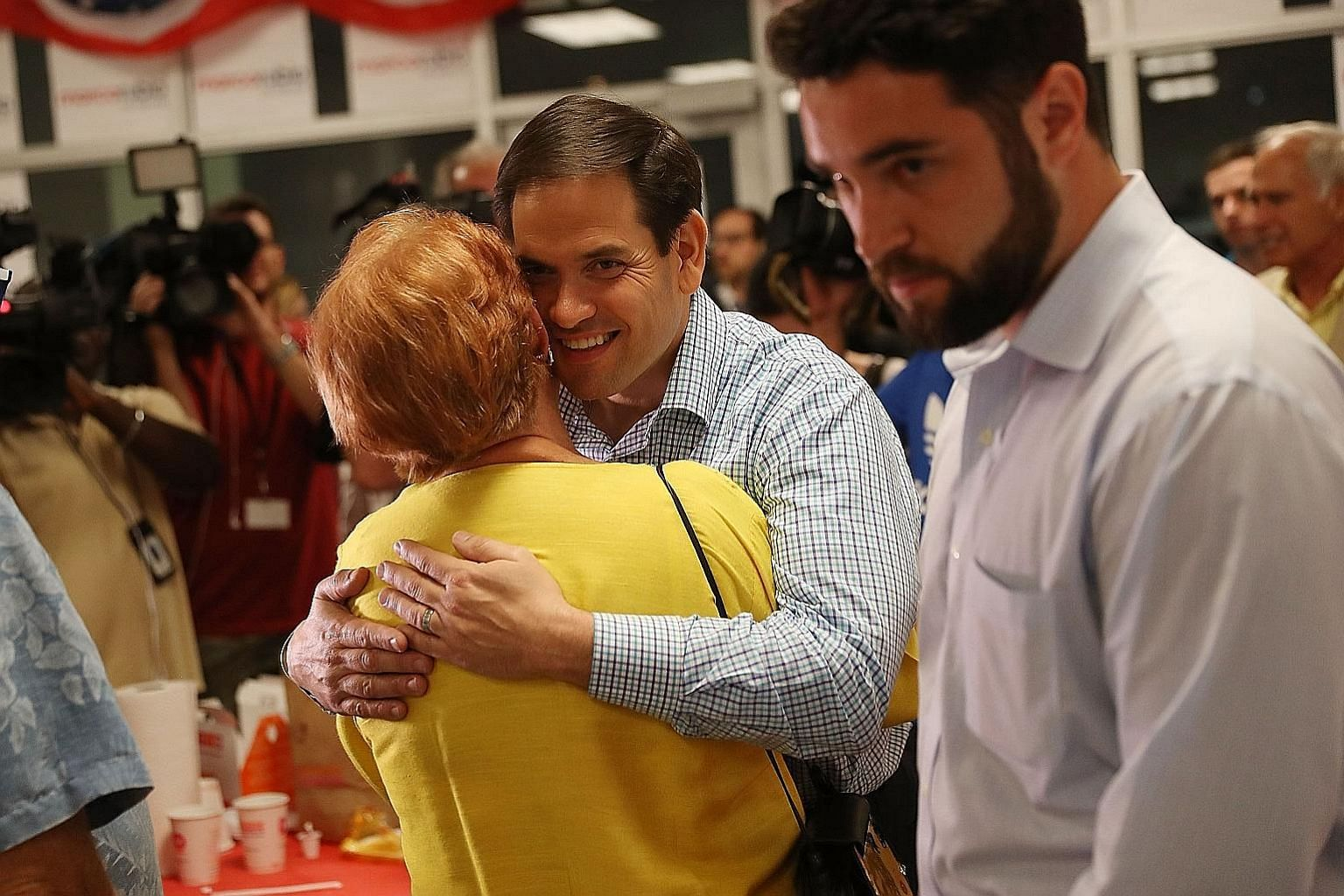 Florida Senator Rubio thanking supporters on the day before the state's primary election late last month, which he won convincingly. His opponent was Mr Beruff, who touted himself as a tough-talking political outsider with a hard line on immigration.