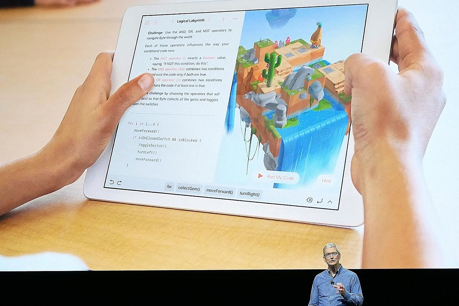 Apple chief executive Timothy Cook announcing Swift Playgrounds, an app that aims to teach coding to beginners and children, in June. The app was scheduled for release yesterday.