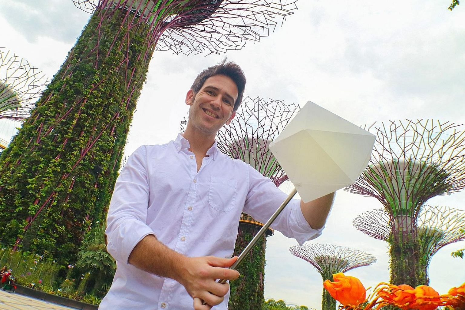 Mr Carlos Banon, with the lantern casing for smartphones at Gardens by the Bay.