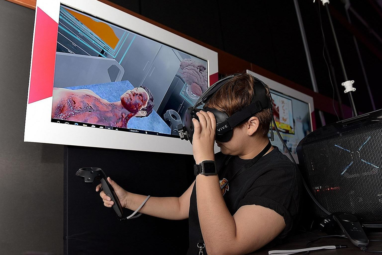 A demonstration of how virtual technology can be used for emergency room training. The newly minted Info-communications Media Development Authority is now in talks with restructured hospitals to use such technology.