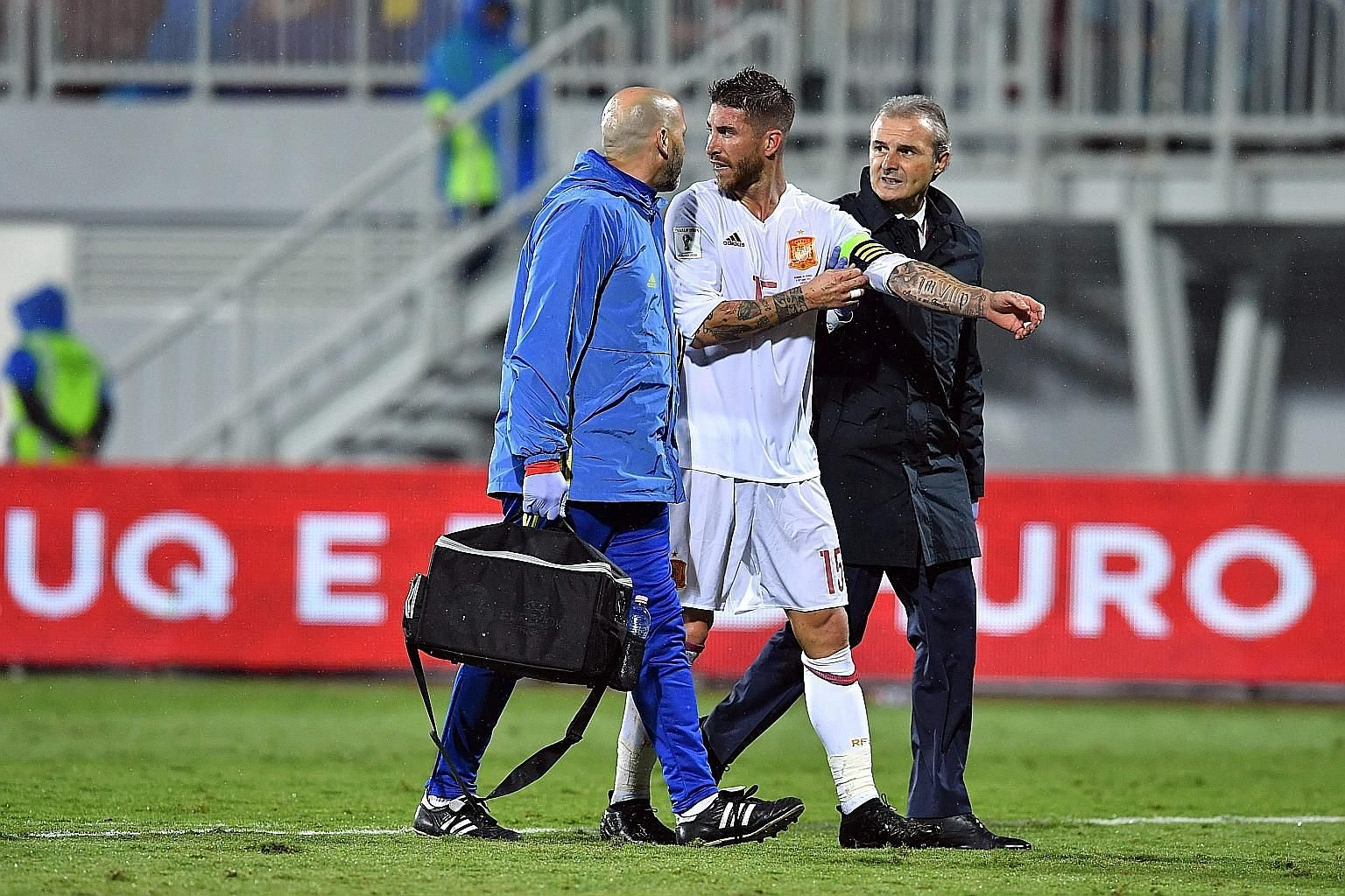 Spain's Sergio Ramos leaving the pitch after suffering a knee injury during the 2-0 win against Albania in the World Cup qualifier on Sunday. Subsequent scans have revealed the injury is more serious than first thought.