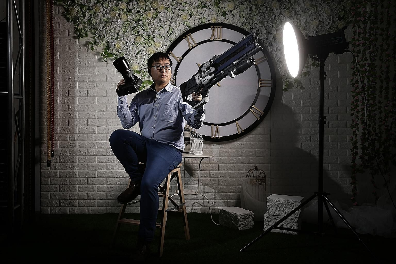 Photography studio Luminos owner Kwong Wai Keat provides studio backdrops based on popular anime series.