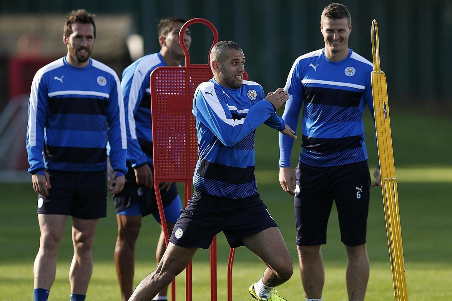 (From left) Leicester's Christian Fuchs, Islam Slimani and Robert Huth during training. Slimani may play after recovering from a groin injury.
