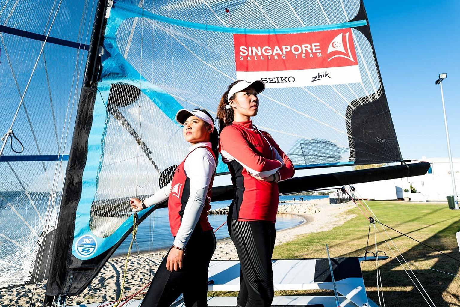 Griselda Khng (far left) and new partner Olivia Chen are targeting a push for the Tokyo Olympics on the 49erFX and will dive into full-time training in the new year. Helmsman Khng's former crew Sara Tan is focusing on finishing her studies at SMU.