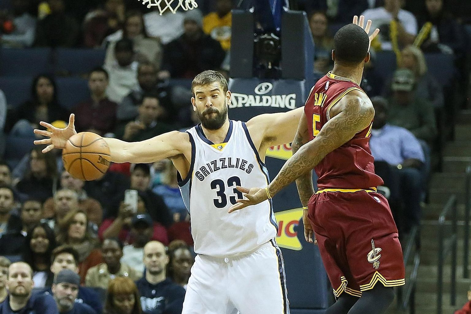 Memphis Grizzlies centre Marc Gasol stealing a pass by Cleveland Cavaliers guard J.R. Smith in the first quarter at FedExForum in Tennessee. The Spanish international posted a double-double with 17 points and 11 rebounds, as hosts Memphis won 93-85.