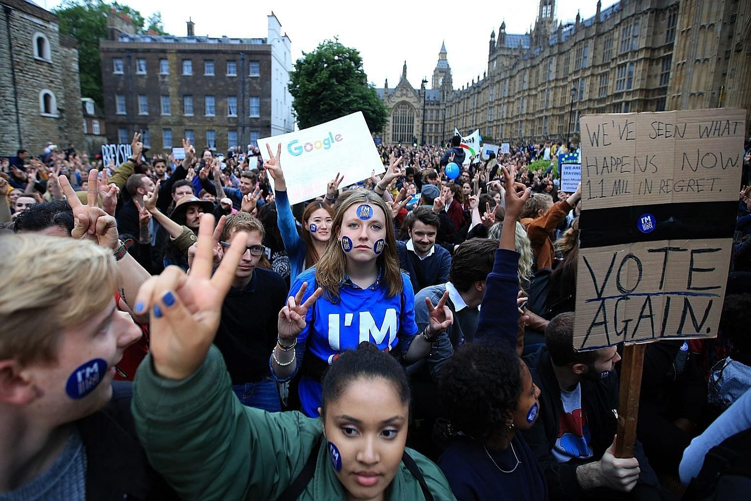 Demonstrators outside the Houses of Parliament in London during a protest to show solidarity with the European Union, just days after Britons voted to leave the EU on June 23.