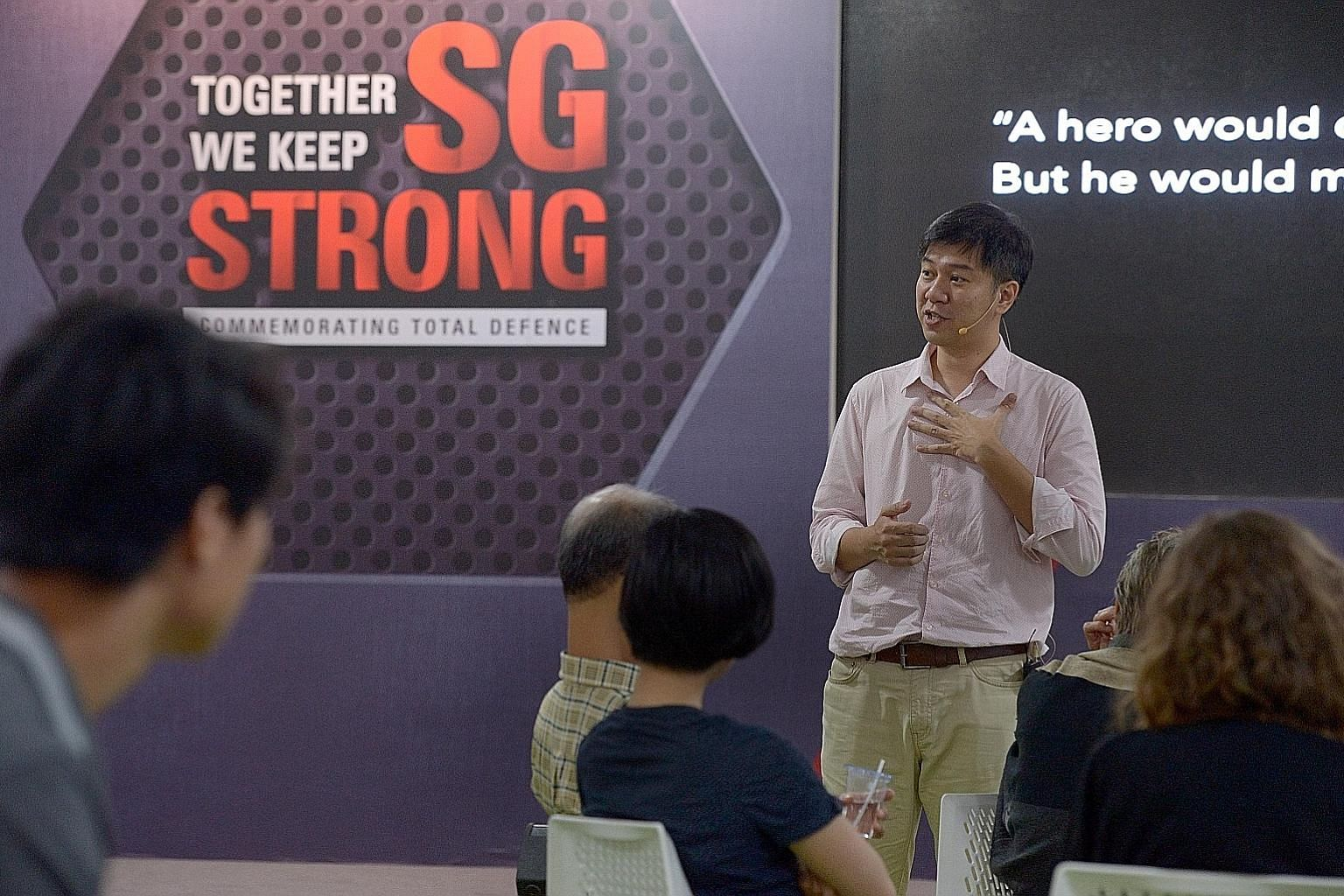 Facilitator Tong Yee (standing) at an SGfuture dialogue on the Singaporean DNA in February. More than 8,300 people took part in discussions under the SGfuture series.