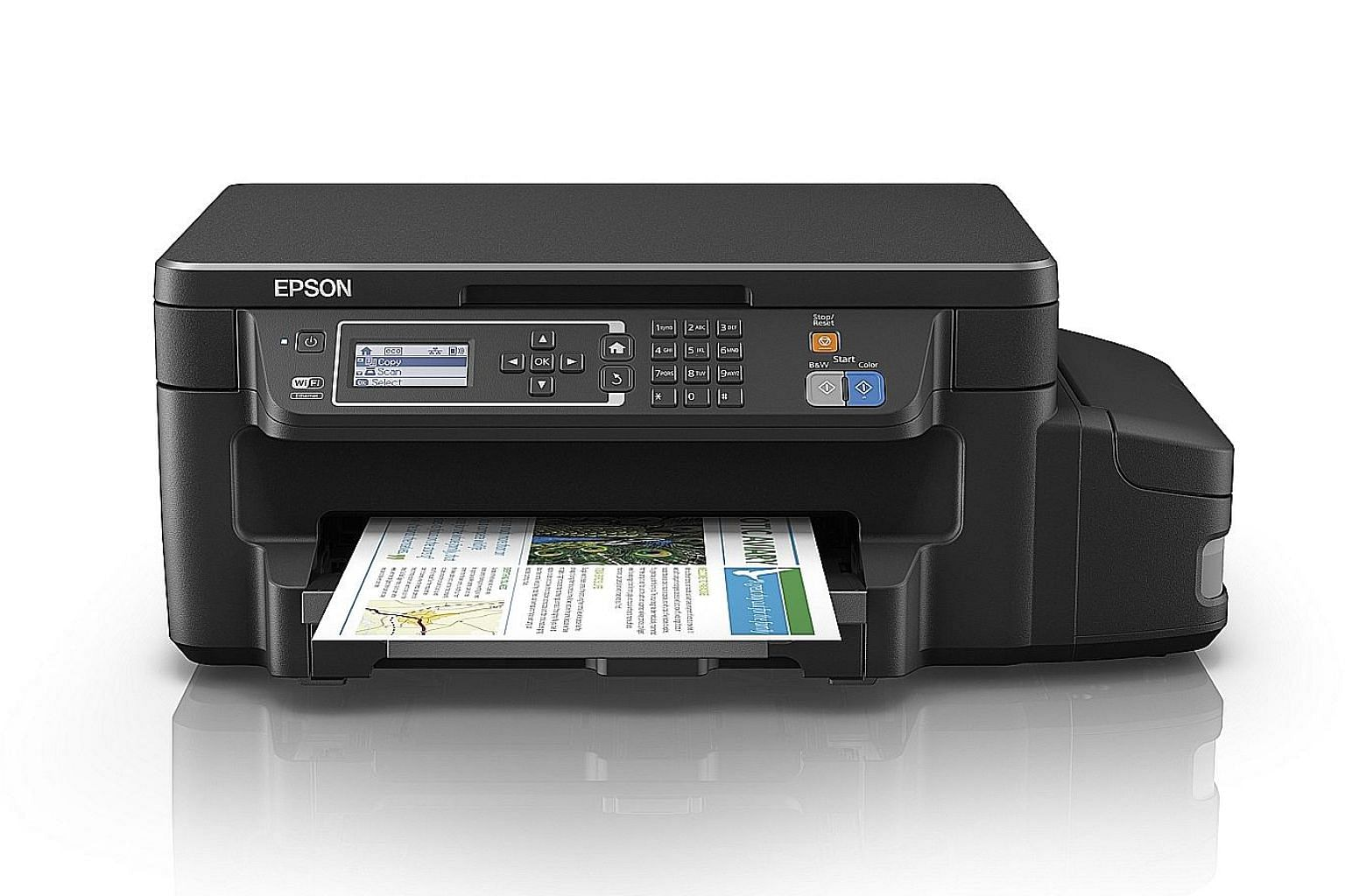 The Epson L605 Ink Tank System Printer has Wi-Fi functionality. Its own Wi-Fi network can connect up to four devices at the same time.
