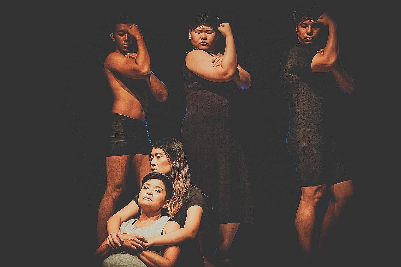 (Top row, from far left) Fadhil Daud, Deonn Yang and Henrik Cheng, (bottom, from far left), Farah Ong and Shannen Tan play characters uncomfortable with their own bodies.