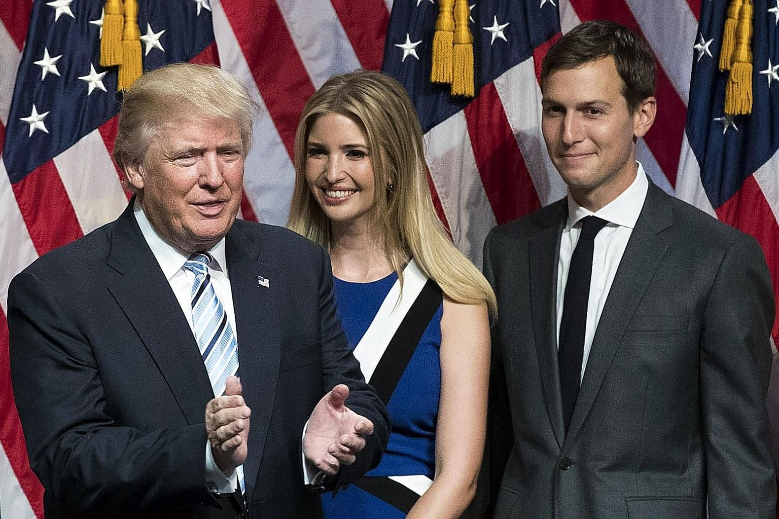 Mr Trump with his daughter Ivanka and son-in-law Jared Kushner. Mr Kushner has such a thin track record of public service that it's hard for Americans to have much sense of what his convictions are.
