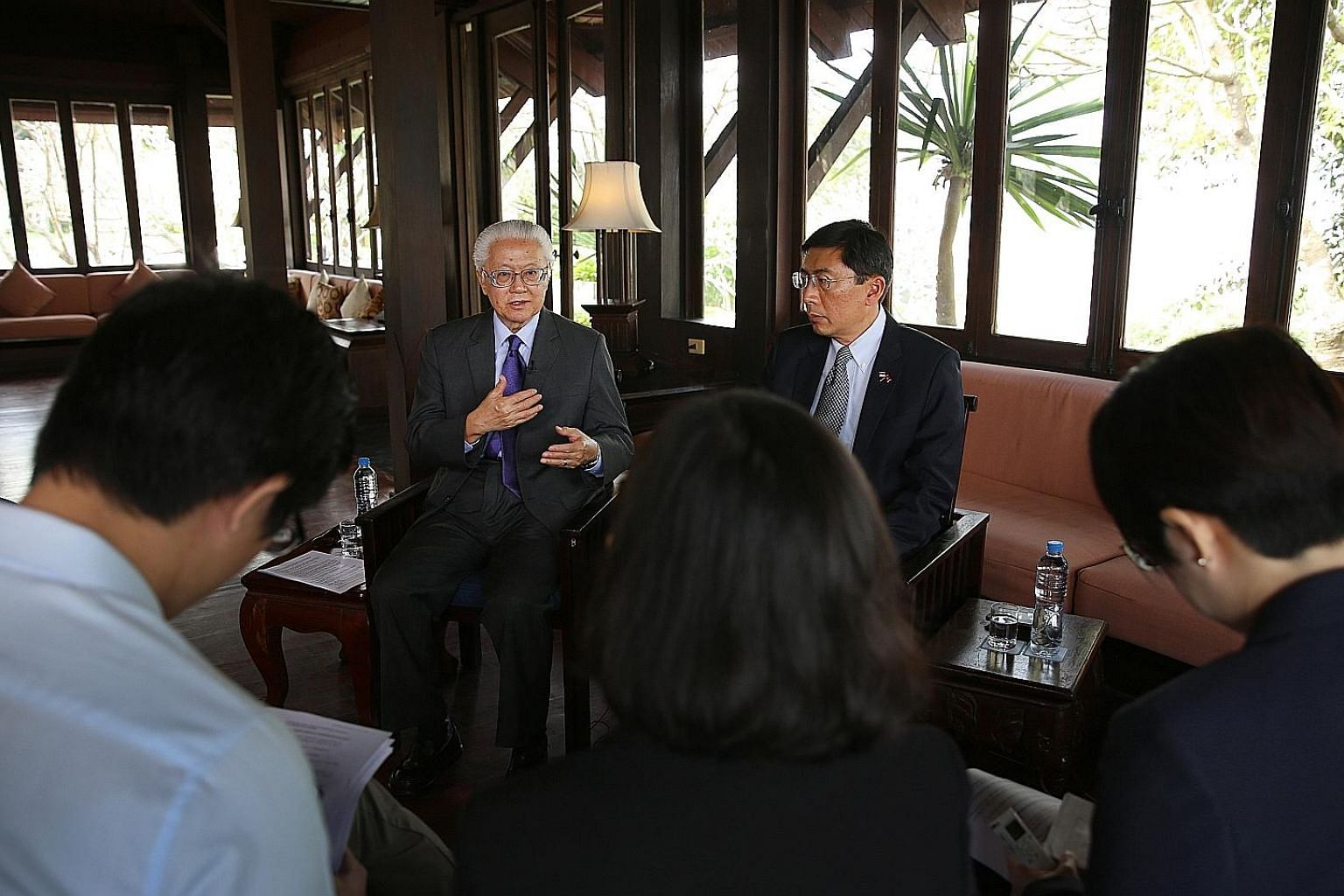 President Tan and Ambassador Dominic Goh at a media briefing in Luang Prabang, Laos. Dr Tan's latest visits to Cambodia and Laos mean he has visited all nine other Asean members as President.