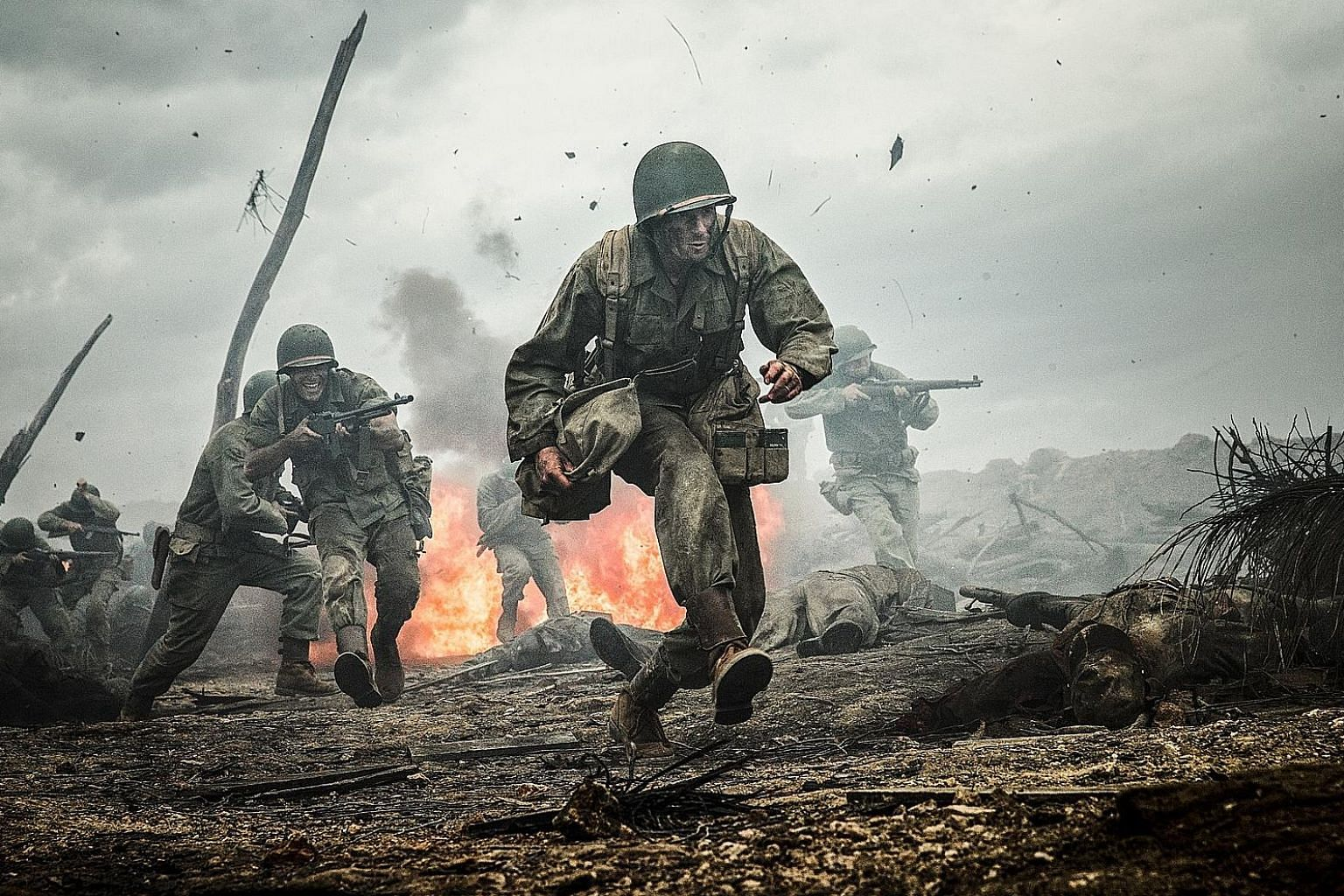 Andrew Garfield plays a soldier who refuses to bear arms in Hacksaw Ridge.