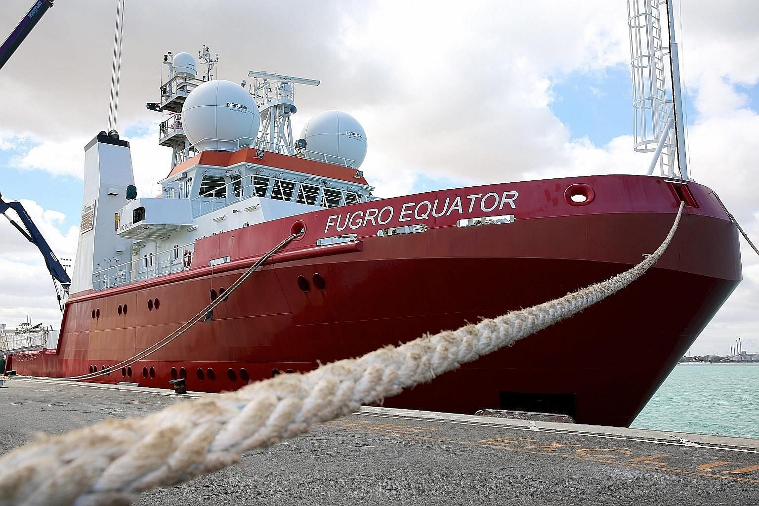 The Fugro Equator, one of the vessels involved in the underwater search for MH370, at the Australian Marine Complex in Perthon Monday, when the second phase of the search ended.