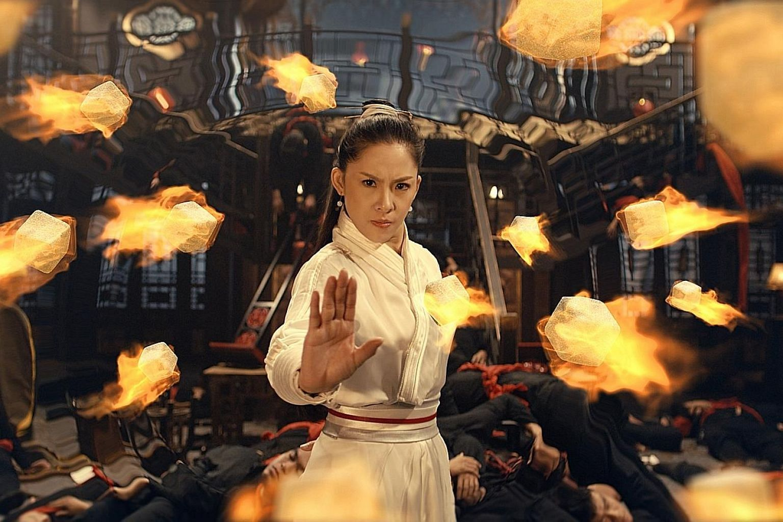In Kungfu Fighter, Hidden Sugar, a gongfu heroine confronts a villain and his posse who add sugar to a family's reunion dinner.