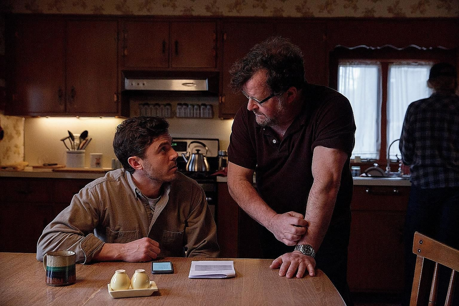 Actor Casey Affleck and director Kenneth Lonergan on the set of Manchester By The Sea. The movie, picked up by Amazon Studios for distribution, is the first film produced by a digital streaming service to be nominated for the Best Picture Academy Award.