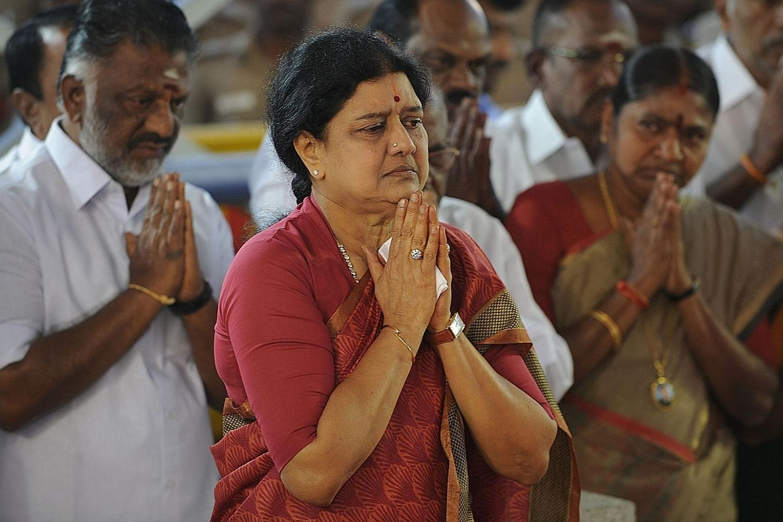 Ms V.K. Sasikala paying her respects at a memorial for Tamil Nadu's late chief minister Jayalalithaa Jayaram after being elected general secretary of the AIADMK party in Chennai on Dec 30.