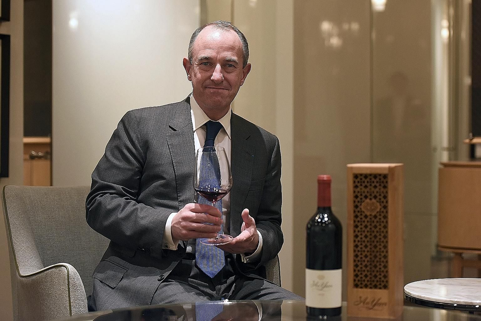 Mr Jean-Guillaume Prats, president and chief executive of Estates and Wines at Moet Hennessy, was in Singapore last month to launch the debut 2013 vintage of Ao Yun.