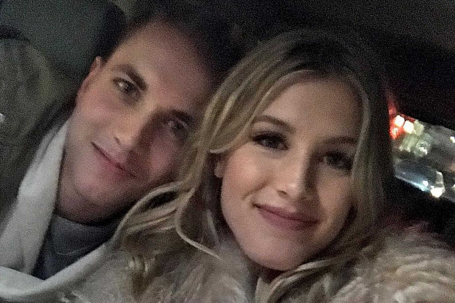 """World No. 44 tennis player Eugenie Bouchard taking a selfie with her blind date John Goehrke. She posted this picture in a tweet with a message that read: """"Just met my 'Super Bowl Twitter Date' John. On our way to the @BrooklynNets game! @punslayintw"""