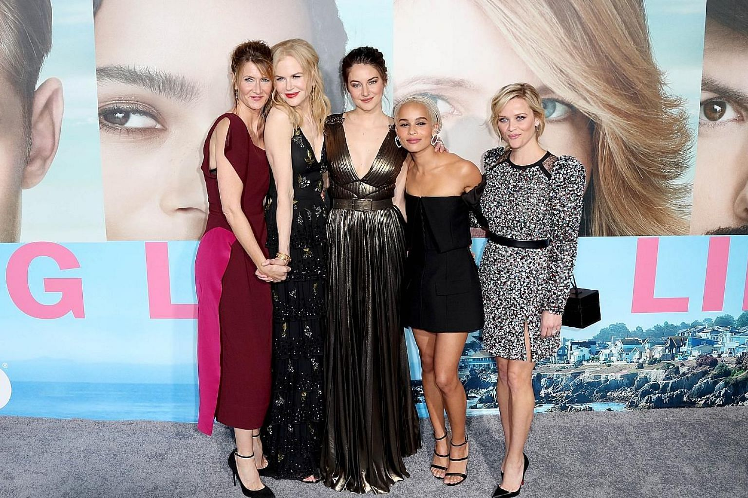 The stars of Big Little Lies (from left) Laura Dern, Nicole Kidman, Shailene Woodley, Zoe Kravitz and Reese Witherspoon at the premiere of the HBO series. (From left) Reese Witherspoon, Shailene Woodley and Nicole Kidman in HBO's Big Little Lies.