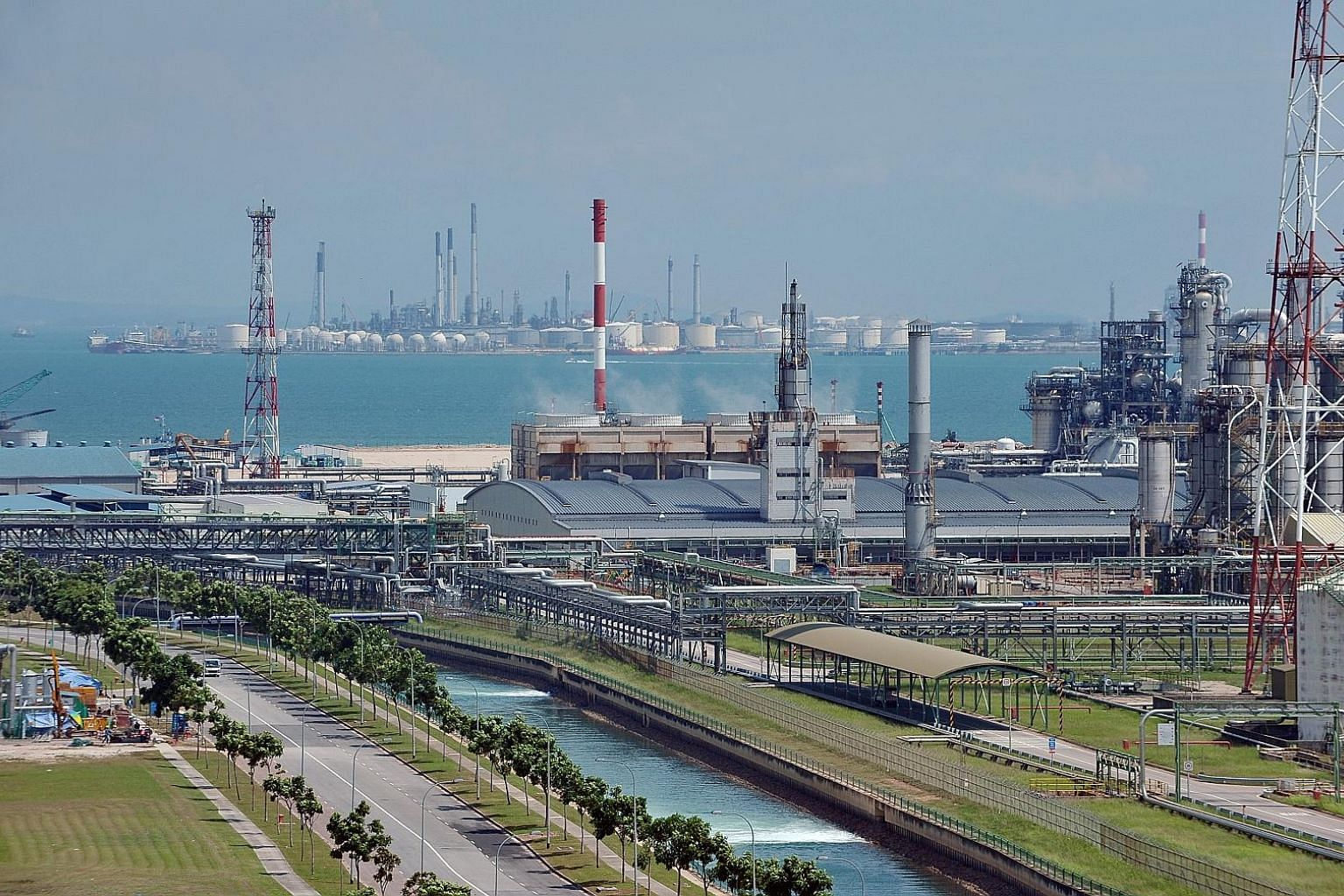 Petrochemical refineries at Jurong Island. The industrial sector is expected to take most of the weight of a carbon price if it is implemented.