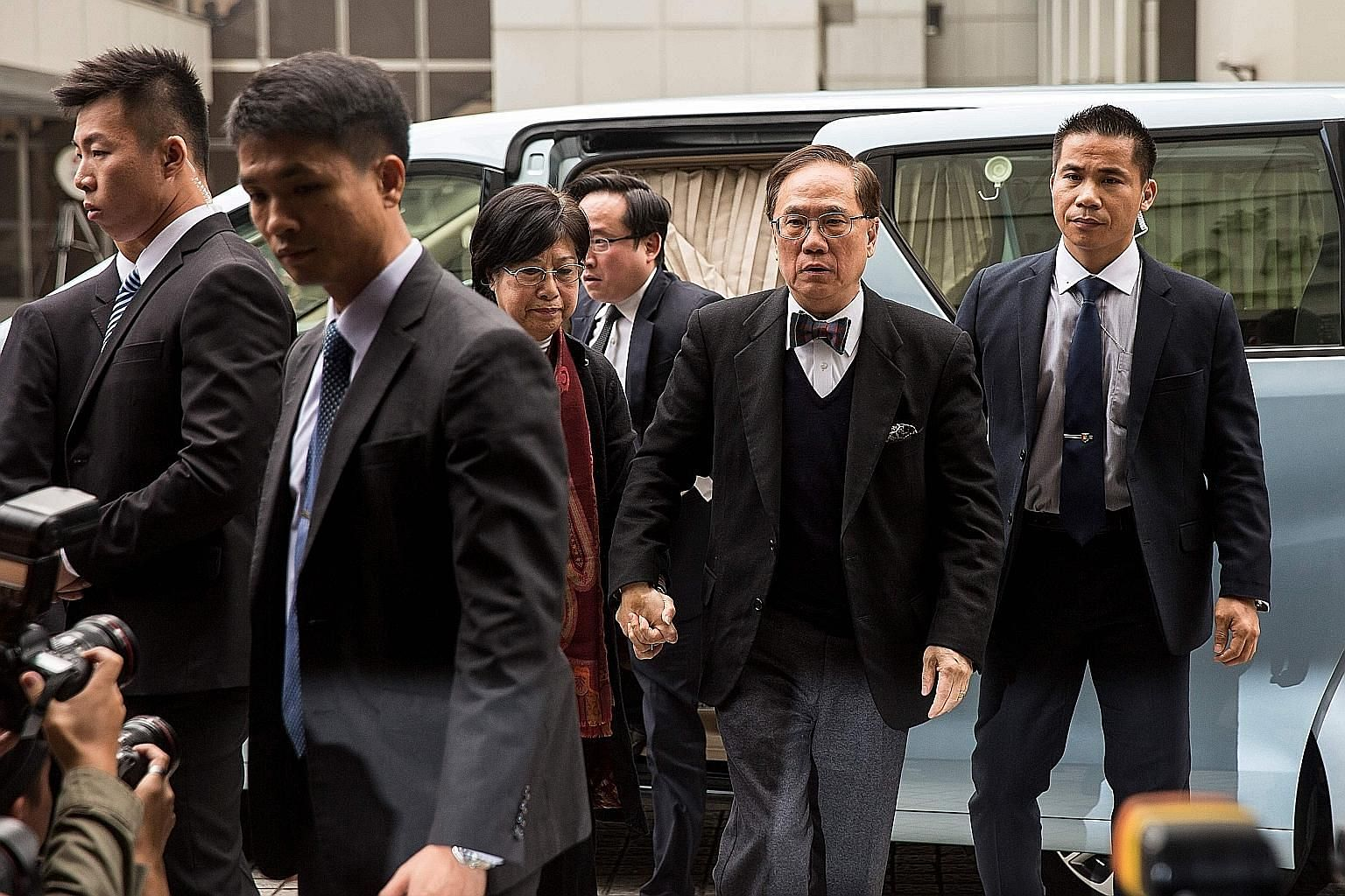 Former chief executive Donald Tsang (in bow tie) arriving at Hong Kong's High Court. He was convicted last week of misconduct in public office.