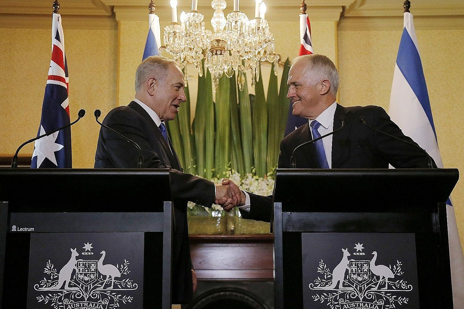 Mr Netanyahu (far left) and Mr Turnbull at their joint press conference in Sydney yesterday. The Israeli PM is on a four-day visit to Australia.