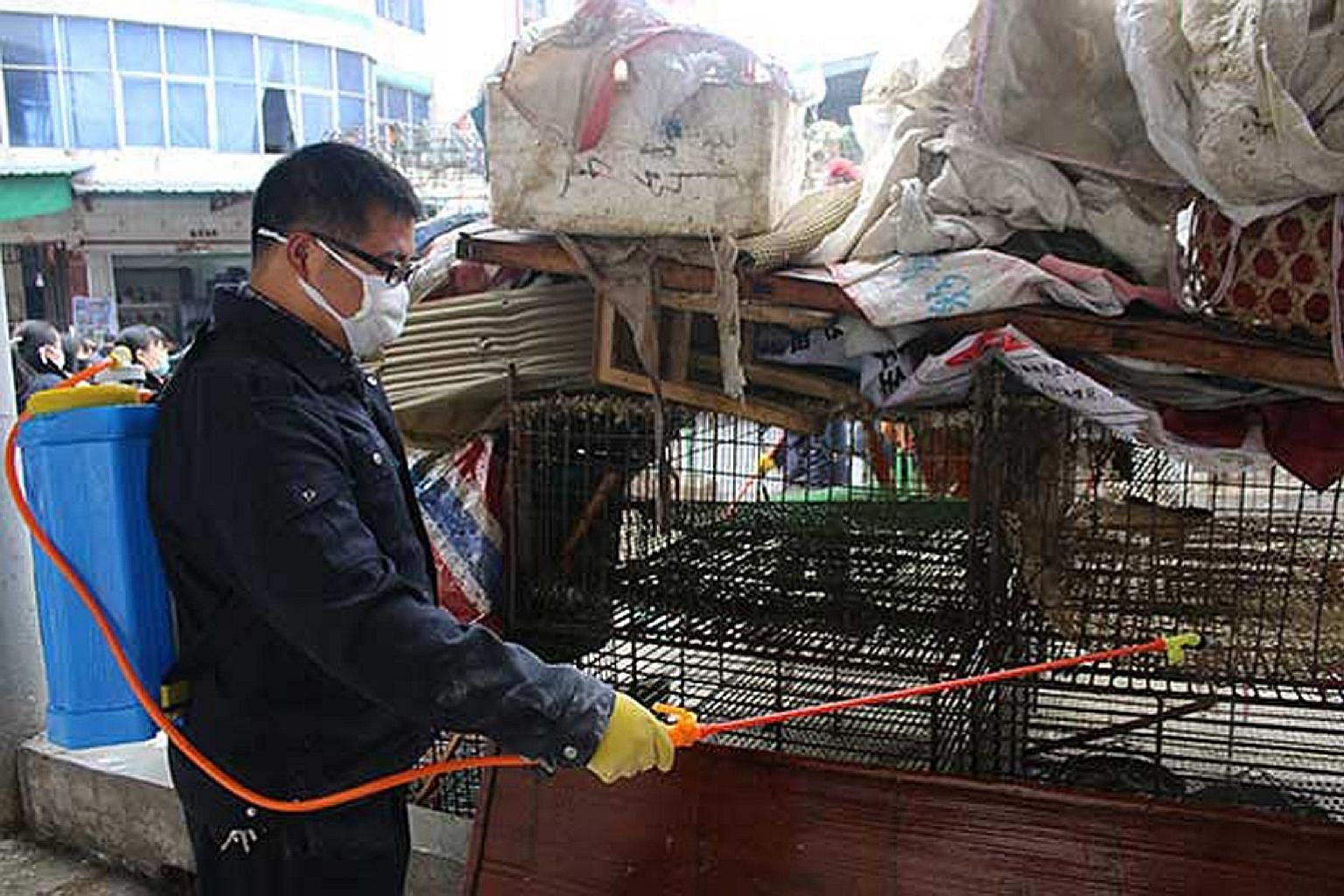 A poultry market in Jiangxi province being disinfected on Sunday as China steps up prevention measures against bird flu. Already, some live poultry markets have been closed after people and chickens were infected by the avian flu strains. China is th