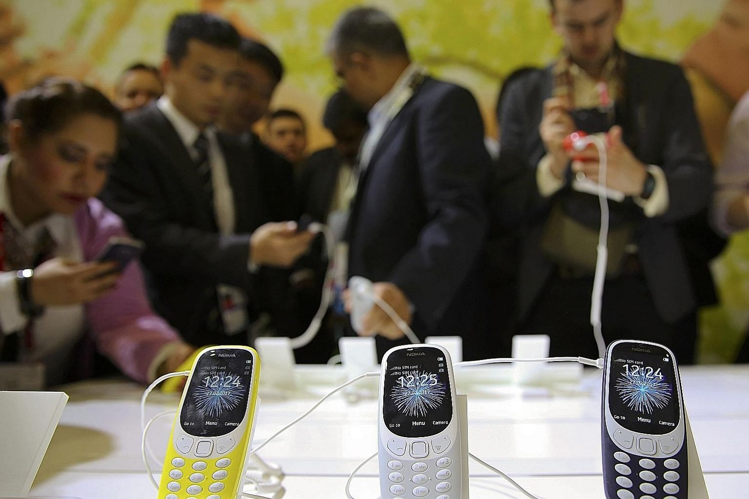 Display models of the relaunched Nokia 3310 at the Mobile World Congress in Barcelona, Spain. It is unlikely the Nokia 3310 will be sold in Singapore as all 2G networks in the country will close from April.