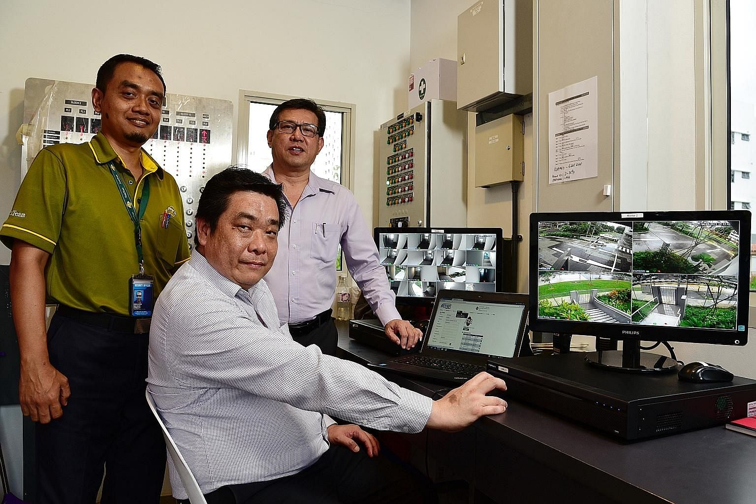 FormTeam Consultancy's (from left ) security supervisor Rezalludin Husin, 44, operations manager Mike Tan Kheng Boon, 46, and senior operations manager Eric Goh Sok Hiong, 53, have benefited from a system that enables mobile reporting, maintenance tr
