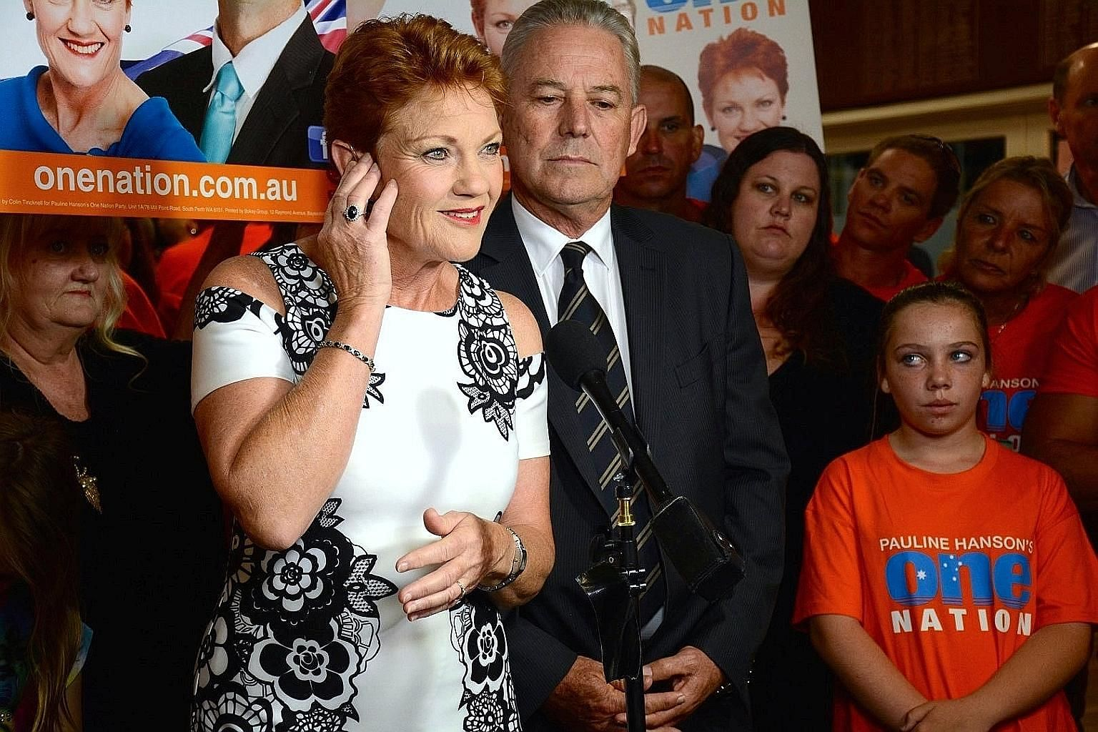 Ms Hanson at a One Nation election function in Perth, Western Australia, on Saturday. Despite the poor result for her party, she showed no sign of giving up on her far-flung ambitions. She even denied her party had floundered and insisted they had do