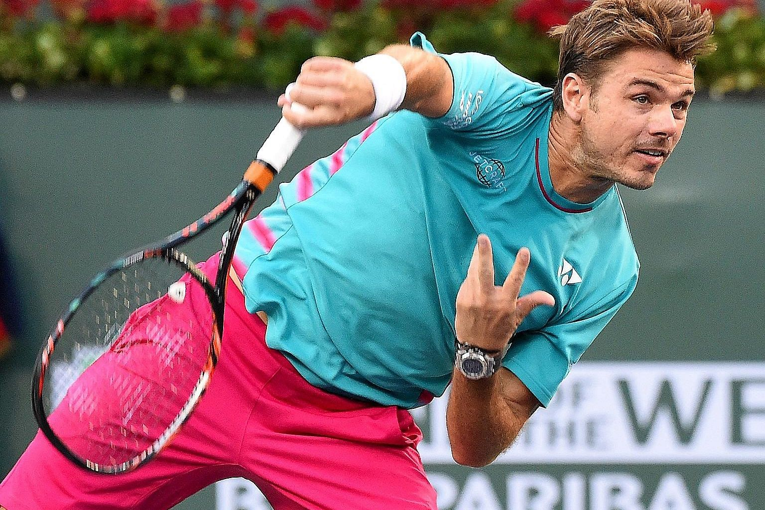 Stan Wawrinka serving to German Philipp Kohlschreiber at Indian Wells. The Swiss had seven aces and did not face a single break point en route to his 7-5, 6-3 victory.